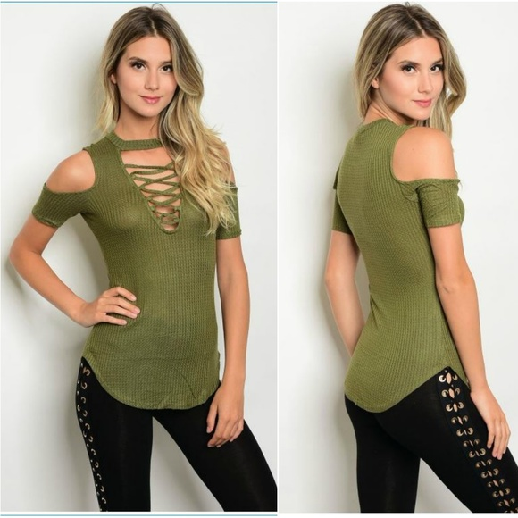 964ce59fbf19a2 Undefined Tops   Olive Green Lace Up Cold Shoulder Top With Choker ...